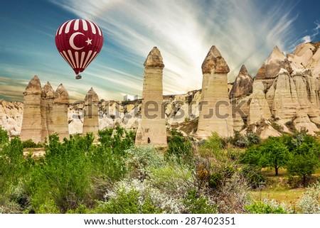 Mountain landscape, balloon, Cappadocia, Turkey - stock photo