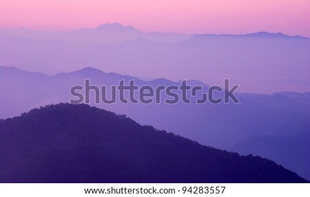 mountain landscape blue sky nature forest abstract light hill - stock photo