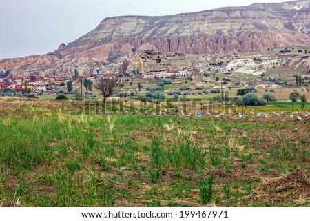 Mountain landscape, Cappadocia, Turkey - stock photo