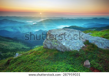 Mountain landscape. Composition of nature. - stock photo