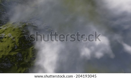 mountain landscape from high above made in 3d software - stock photo
