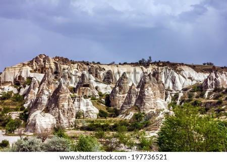 Mountain landscape, Goreme, Cappadocia, Turkey   - stock photo