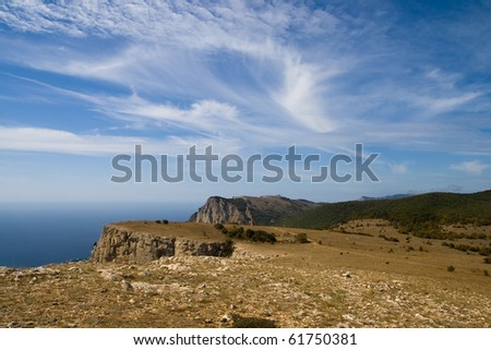 Mountain landscape high above the sea with a beautiful blue sky with clouds