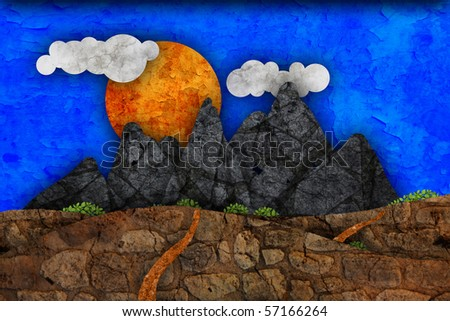 mountain landscape illustration - stock photo