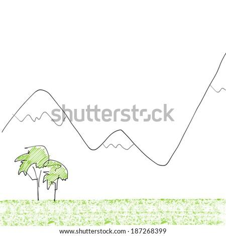 Mountain Landscape Illustration Sketch - stock photo