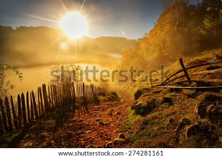 mountain landscape in autumn morning - stock photo