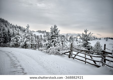 mountain landscape in early winter - stock photo
