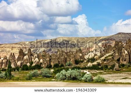 Mountain landscape in Goreme, Cappadocia, Turkey - stock photo