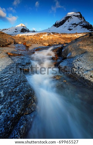 Mountain landscape in Gran Paradiso National Park, Italy - stock photo