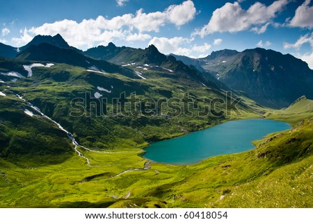 Mountain landscape in green wally with crystal river, in Caucasian mountains. - stock photo
