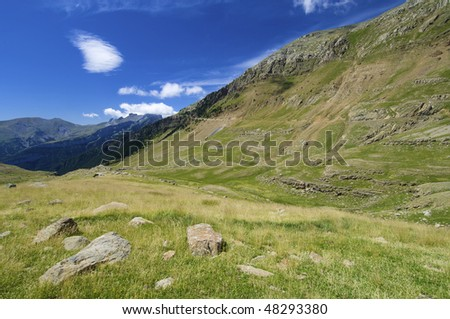 Mountain landscape in Ip Valley, Pyrenees, Spain