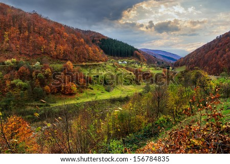mountain landscape in late autumn. nullah of the river on the outskirts of the village.
