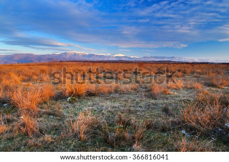 Mountain landscape in late winter
