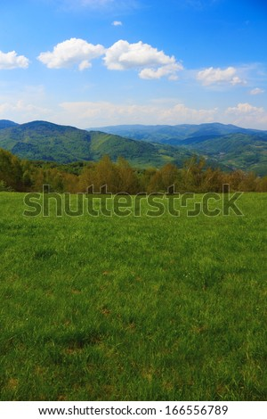 Mountain Landscape in May. Beskid, Poland.