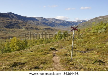 Mountain landscape in north of Sweden - stock photo
