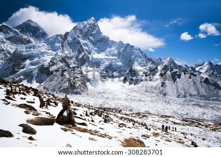 Mountain landscape in Sagarmatha National Park in the Nepal Himalaya - stock photo