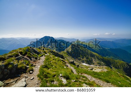Mountain landscape in shiny summer