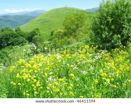 mountain landscape in spring,armenia - stock photo