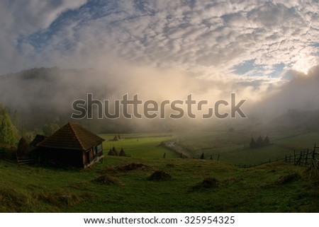 mountain landscape in summer morning, Romania, Fundatura Ponorului