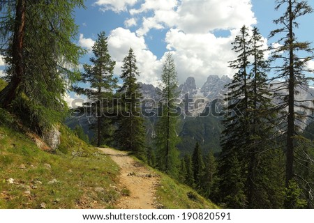 Mountain landscape in the dolomites - stock photo