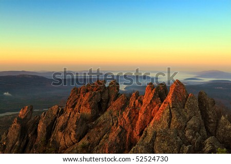 Mountain landscape in the early morning. Sunrise Mountain. - stock photo
