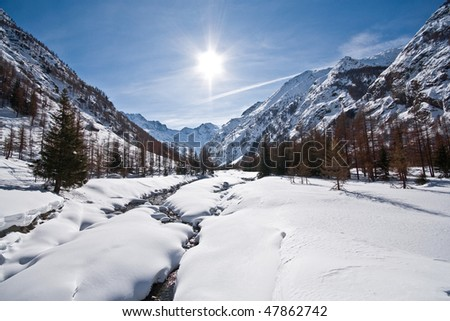 Mountain landscape in Valnontey Valley - Alps Italy - stock photo