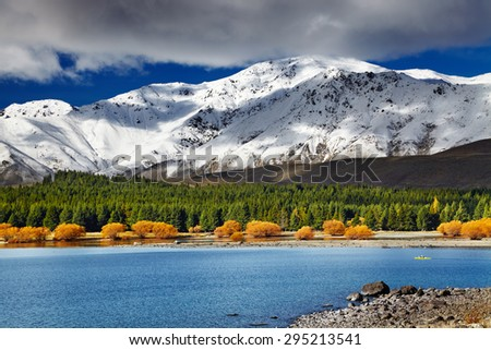 Mountain landscape, Lake Tekapo, New Zealand - stock photo