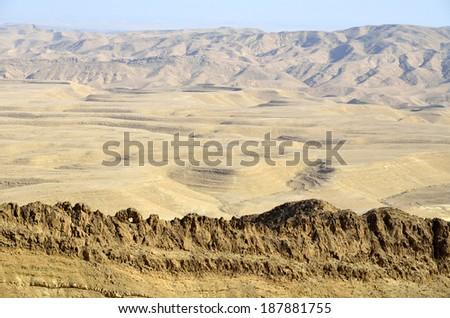 Mountain landscape near Ramon Crater in Negev desert, Israel - stock photo