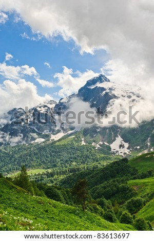 mountain landscape of the northern Caucasus. Russia - stock photo