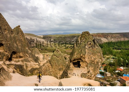 Mountain landscape, old monastery, Cavusin, Cappadocia, Turkey   - stock photo