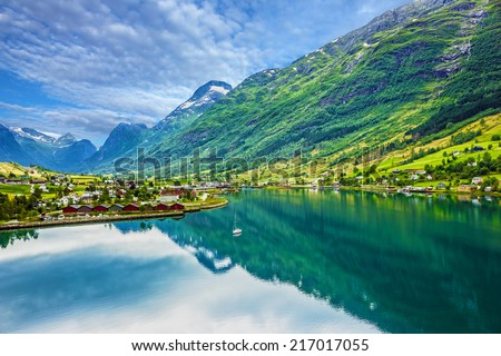 Mountain landscape, Olden, Norway - stock photo