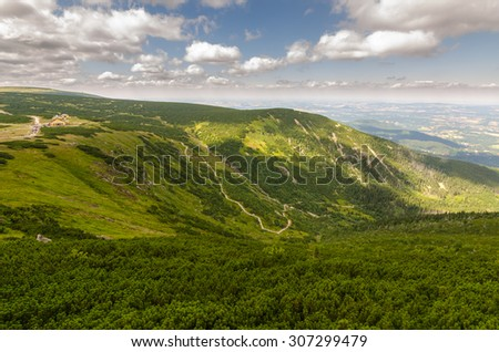Mountain landscape on a sunny summer day - stock photo