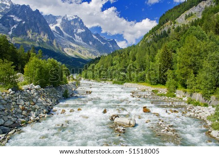 Mountain landscape on alps with beautiful panorama and little river - stock photo