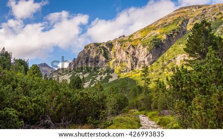 Mountain Landscape on Sunny Day. View form Hiking Trail. Mlynicka Valley, High Tatra, Slovakia. - stock photo