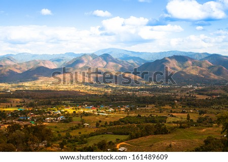 Mountain landscape on the border of Northern Thailand and Burma (Myanmar)