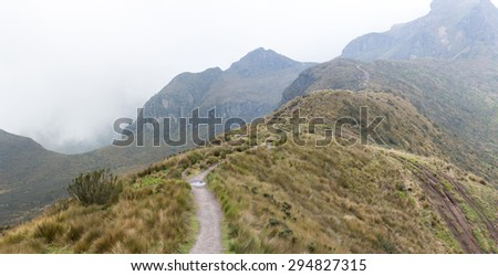 Mountain landscape on the way to the Pichincha volcano. Amazing wildlife and flora of the Andean highlands, at 4000 meters above sea level. Quito. Ecuador 2015 - stock photo