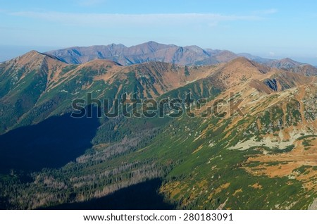 Mountain landscape. Outstanding view of the mountain ridges in Tatras National Park.