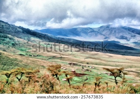 Mountain Landscape Painting with valley and tribal houses in Africa - stock photo