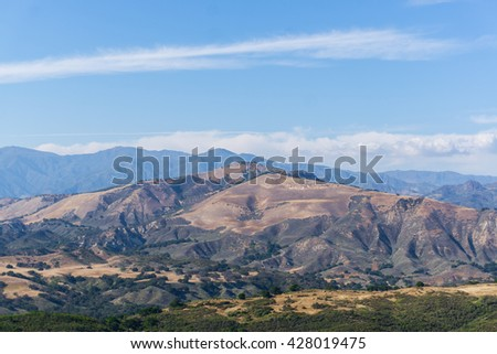 Mountain landscape panorama view in a bright day - stock photo
