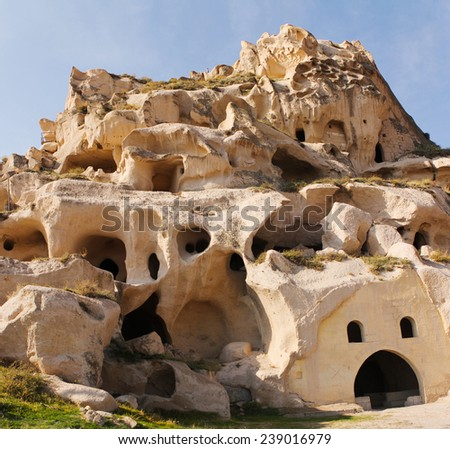 Mountain landscape panoramic view Cappadocia in Turkey, Goreme national park. - stock photo