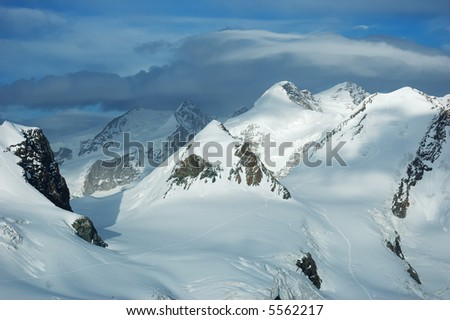 Mountain landscape: peaks and glaciers of Monte Rosa massif, west Alps, Europe