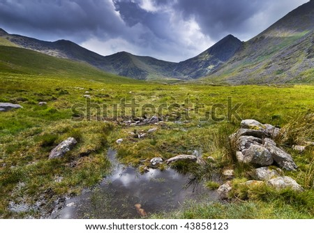 Mountain landscape shot during rainy weather. Macgillycuddy's Reeks, Iveragh Peninsula, Ireland - stock photo