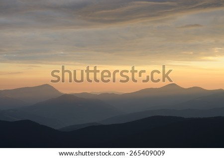 Mountain landscape. Summer morning with beautiful sky