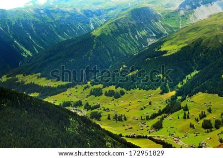 Mountain landscape taken from Jakobshorn, Davos, Switzerland - stock photo