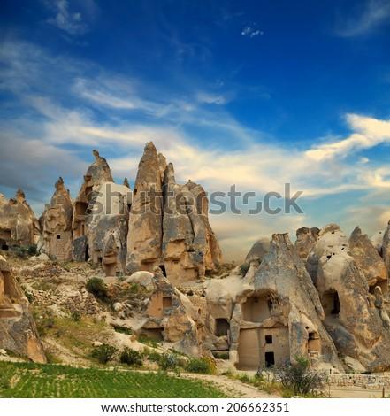 Mountain landscape valley Cappadocia Turkey  - stock photo