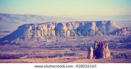 Mountain landscape vintage style, Cappadocia, Turkey.  - stock photo