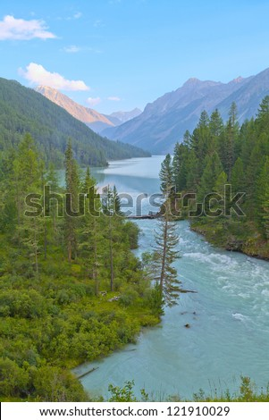 Mountain landscape with a lake and river, altai, siberia, Russia - stock photo