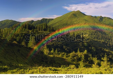 Mountain landscape with a rainbow. Fir forest - stock photo