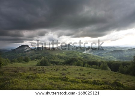 Mountain landscape with clouds before the rain