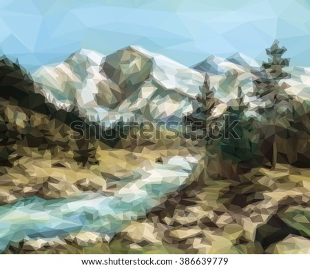 Mountain Landscape with Fir Trees and River, Low Poly.  - stock photo